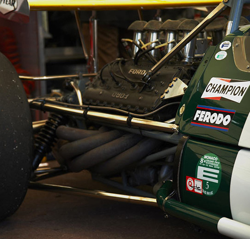 On some cars such as the brabham BT26 from the seventies, we can admire the beautiful  8 cylinders Ford engine.