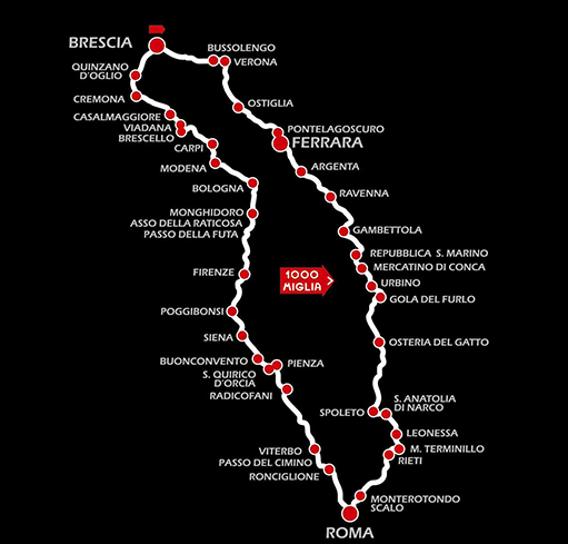 Mille Miglia 2014 designs the race along the magical scenery of the Italian territory starting from Brescia to Rome and then back again.