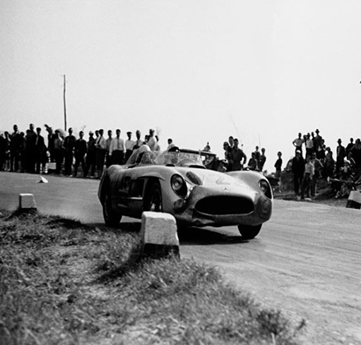 97 miles (157 km/h) average speed over 5 hours. The record is set by Denis Jenkinson and Stirling Moss in a Mercedes Benz 300 SLR in 1955.