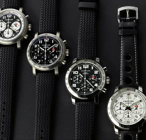 THE RUBBER STRAPS ARE A REAL BREAKTHROUGH REPRESENTING A PIECE OF CHOPARD'S IDENTITY. THE DESIGN IS REMINISCENT OF THE DUNLOP FLEXIBLE TIRES USED IN THE 60'S.