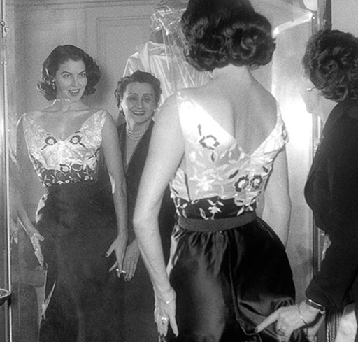 Ava Gardner tries out costumes on the set of The Barefoot Contessa (1954)