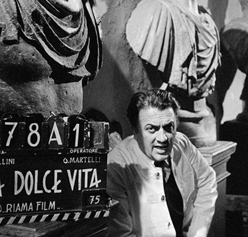 Federico Fellini takes a break while filming La Dolce Vita (1960)