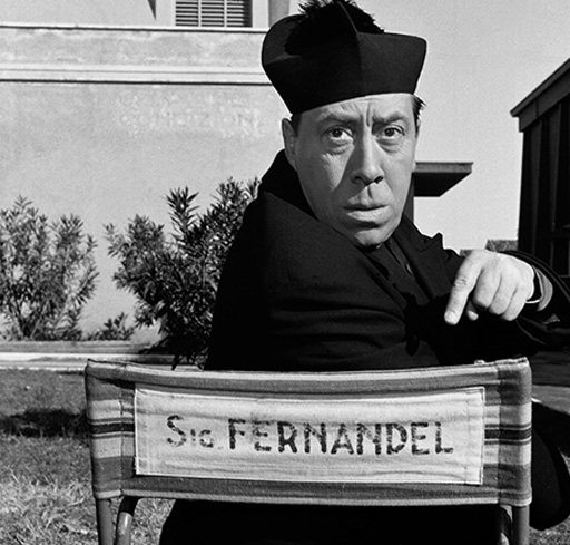 Fernandel on the set of Don Camillo (1952)