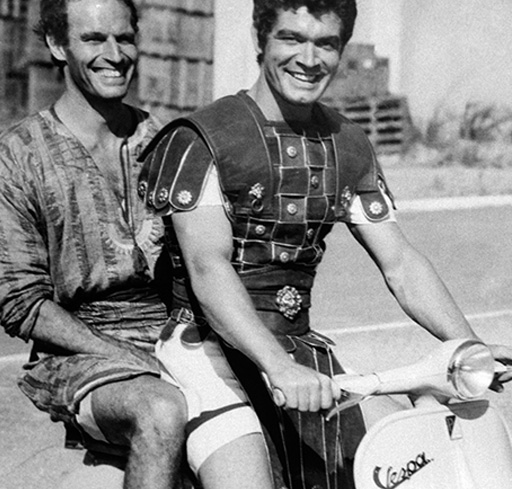 Charlton Heston with Stephen Boyd in their Ben Hur costumes (1959)