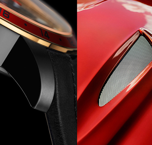 Angular, sharp-featured curves inspired by Zagato bodywork give a sporty character to the watch case.
