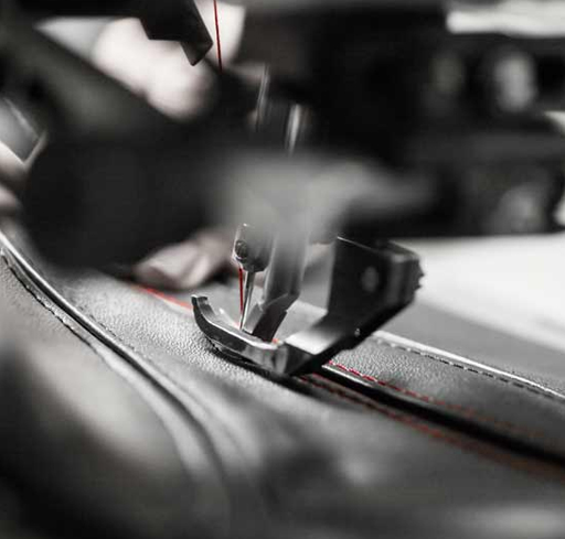 Both an automobile's uphostery and the strap of the Mille Miglia Zagato watch are produced using similar processes.