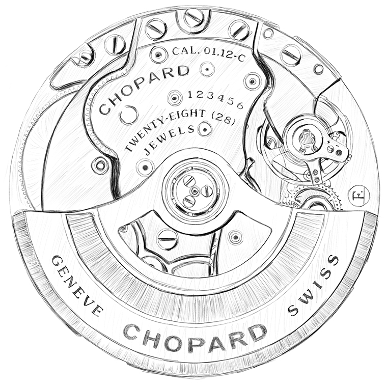 Sketch of Chopard's in-house movement 01.12-C equiped by the Alpine Eagle watches.