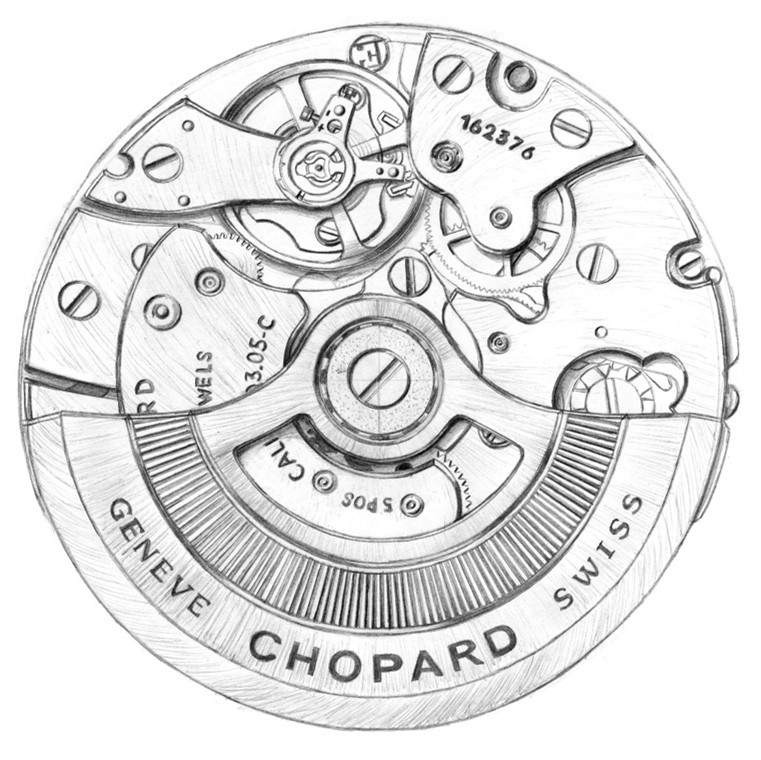 Sketch of Chopard's in-house movement 03.05-C equiped by the Alpine Eagle watches.