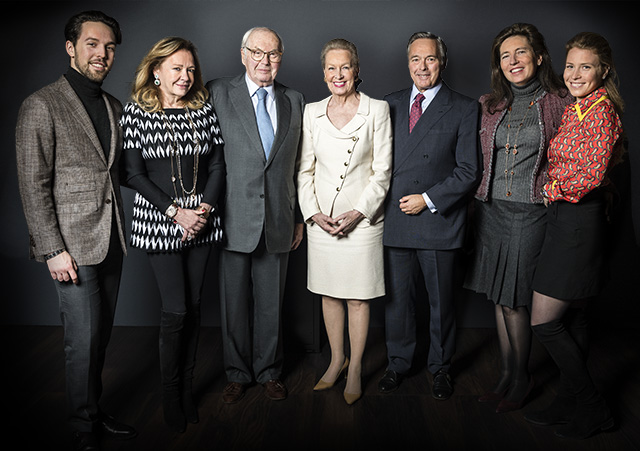 Three generations of the Scheufele family, from left to right : Karl-Fritz, Caroline, Karl, Karin, Karl-Friedrich, Christine and Caroline-Marie.