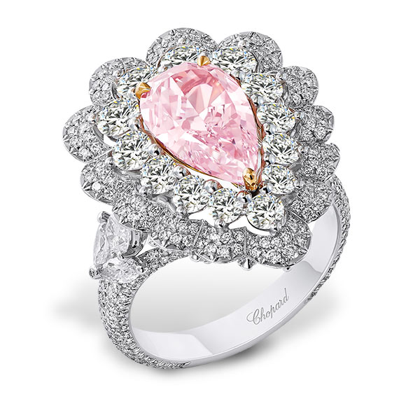 The pink diamond ring in silver from the precious lace collection