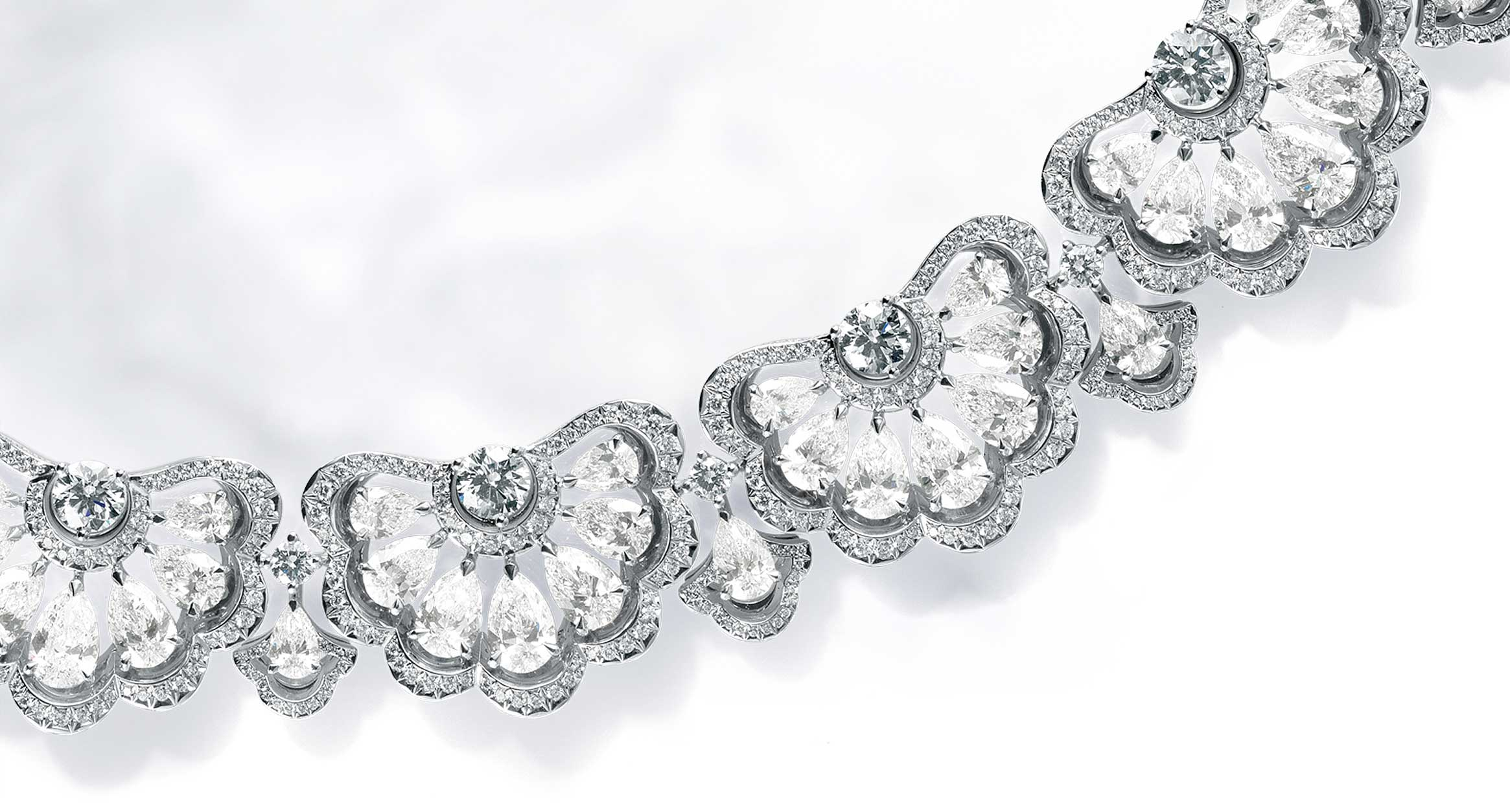 A close up of the diamond silver precious lace collection by Chopard
