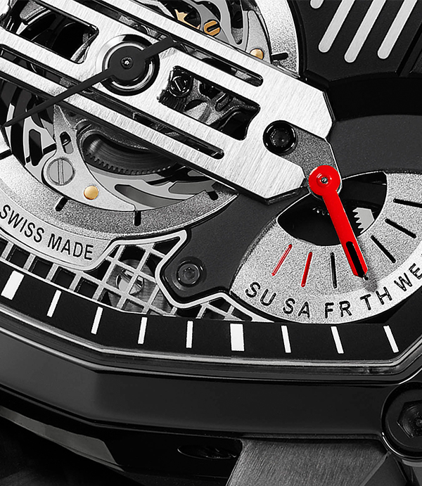 A close-up of the Mille Miglia Watch Lab One