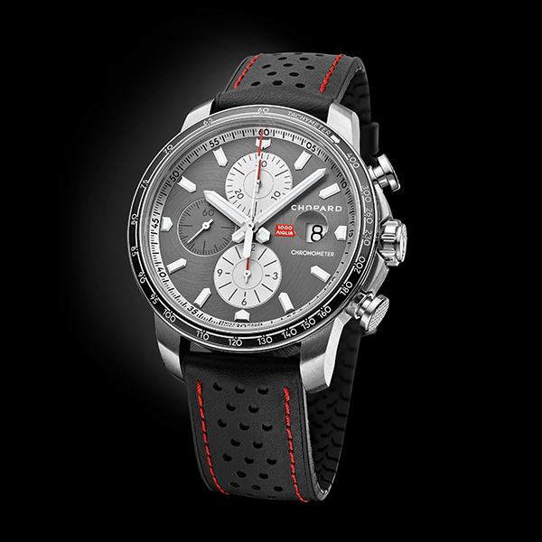 A close-up of the Mille Miglia 2021 Race Edition in steel