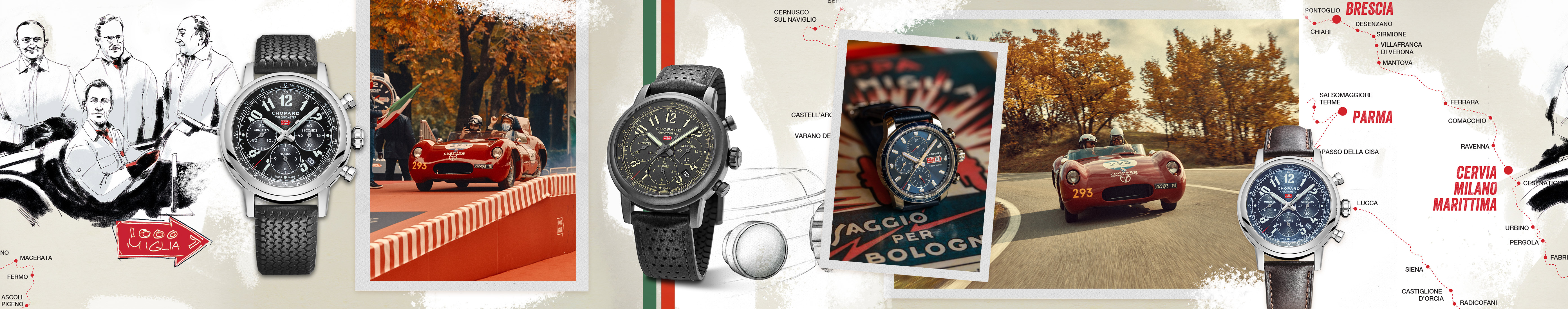 Several watches from the Mille Miglia Collection displayed, with a map of the Mille Miglia background