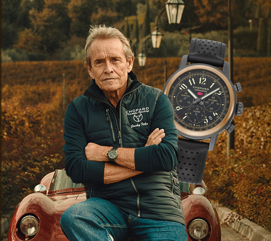A close-up of Jacky Ickx with a watch of the Mille Miglia Collection