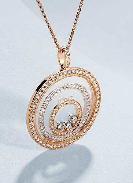 Front view of a Happy diamond pendant