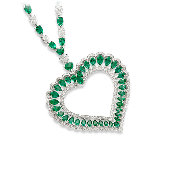 A beautiful necklace set with emeralds and diamonds