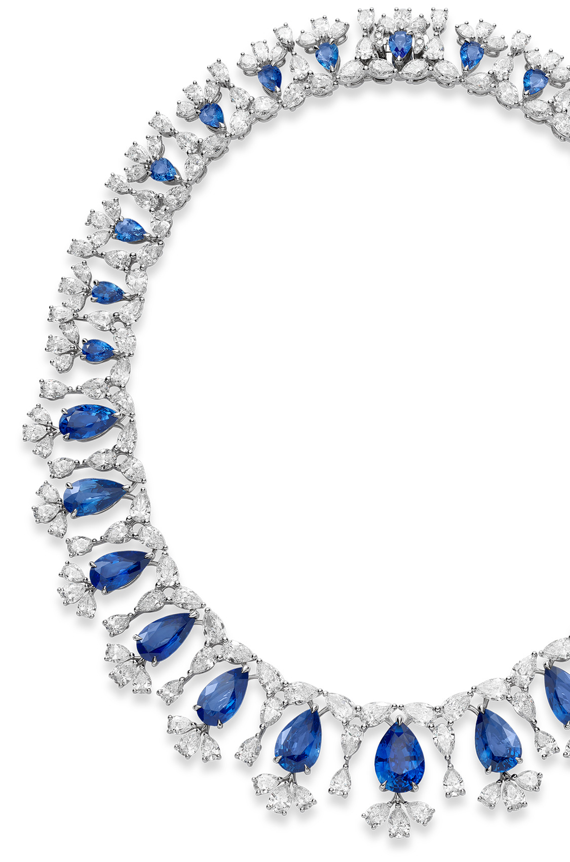 Sapphire necklace with blue diamonds