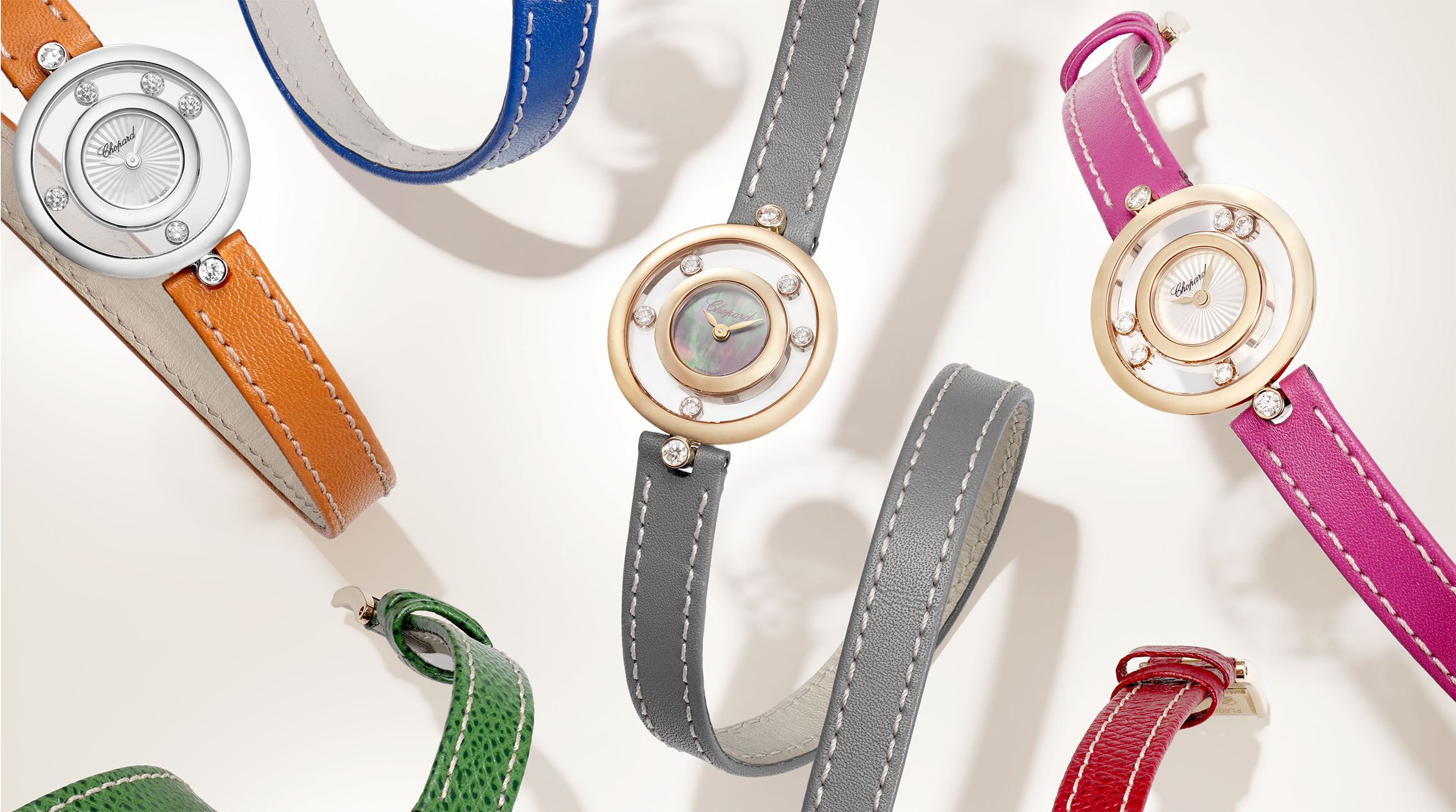 Happy Diamonds watches with multicolor double wrap strap