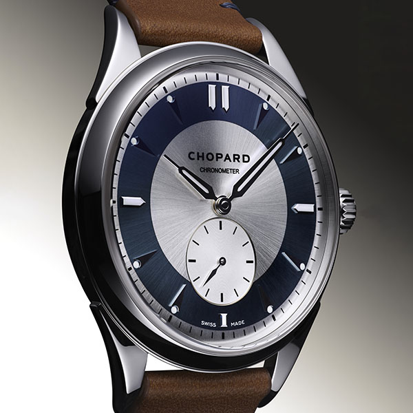 L.U.C QF Jubilee watch adorned with a grey sector dial