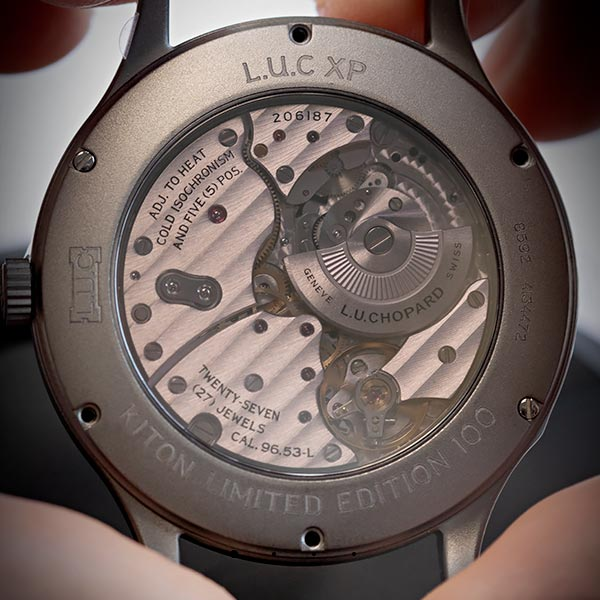 Close up of the L.U.C Kiton Limited Edition 100, displaying the glass and movements from a front point of view.