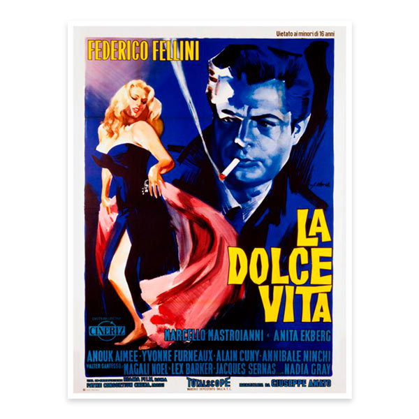 Several posters of famous movies, such as Pulp Fiction, La Dolce Vita and The Umbrellas of Cherbourg. 1