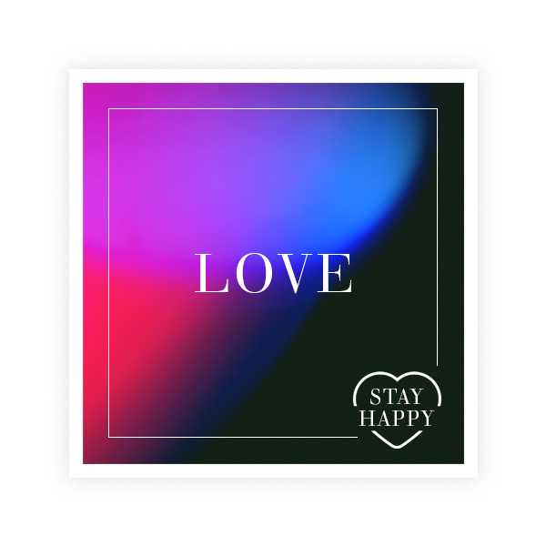 The word 'Love' over a stylish, coloured in black,blue, red and purple square.
