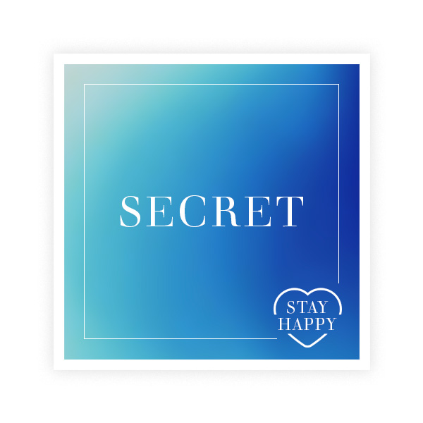 The word 'Secret' over a stylish, coloured in light and slightly darker blue square.
