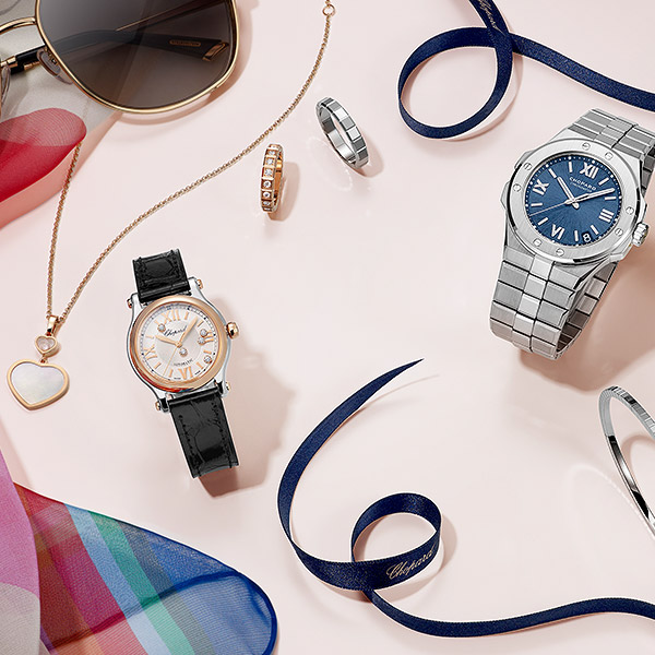 Watches and jewellery products lying on a table