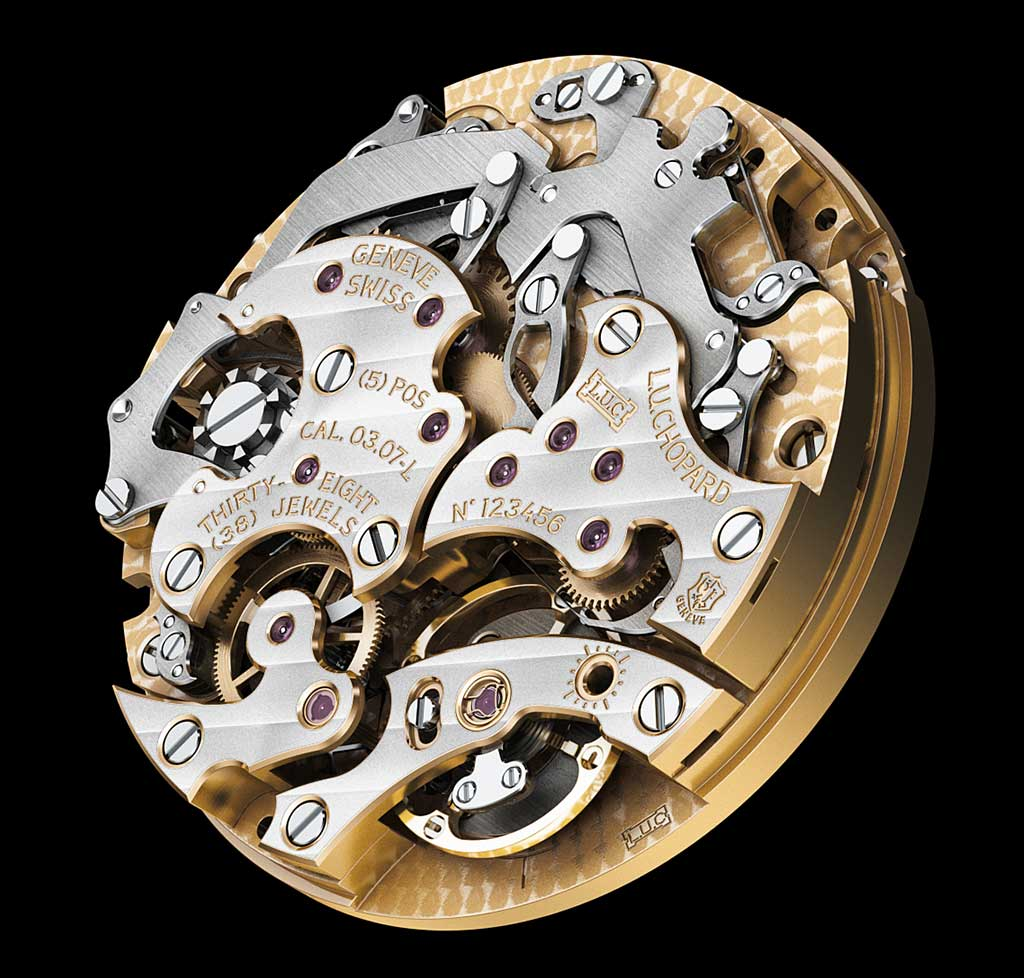 The chronometer-certified L.U.C hand-wound Calibre 03.07-L bearing the Poinçon de Genève hallmark on the right.