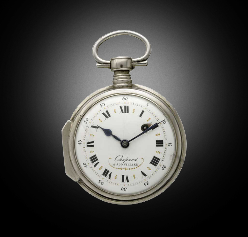 NICKEL-PLATED SILVER POCKET WATCH, LOUIS-ULYSSE CHOPARD, SONVILIER, 1860. A TYPICAL TIMEPIECE OF THE ERA, FEATURING A VERGE ESCAPEMENT, A SILVER REGULATING DISC, AND A BEAUTIFUL CHASED AND PIERCED BALANCE-COCK. ENAMEL DIAL DECORATED WITH ROMAN NUMERALS.