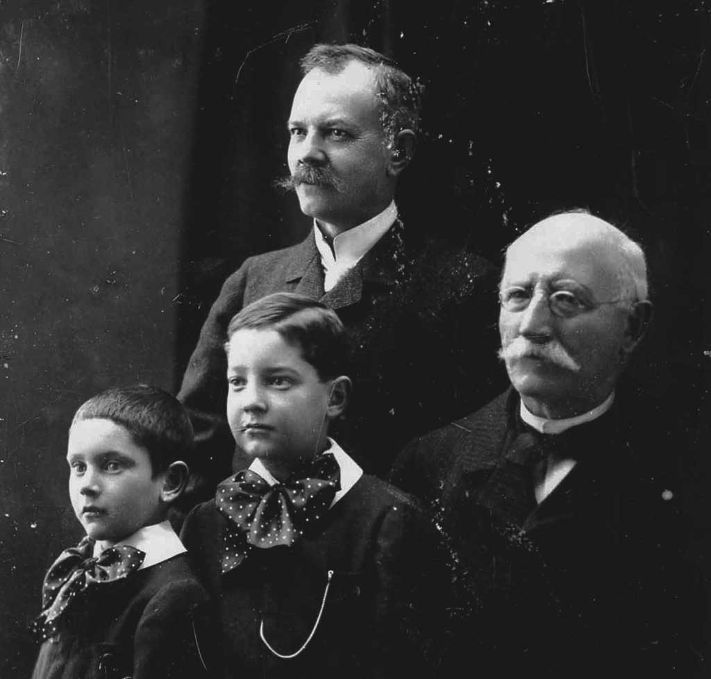 Louis-Ulysse Chopard (right), his son Paul, his grandsons Jean and André. Paul-André Chopard sells Chopard to Karl Scheufele III in 1963.