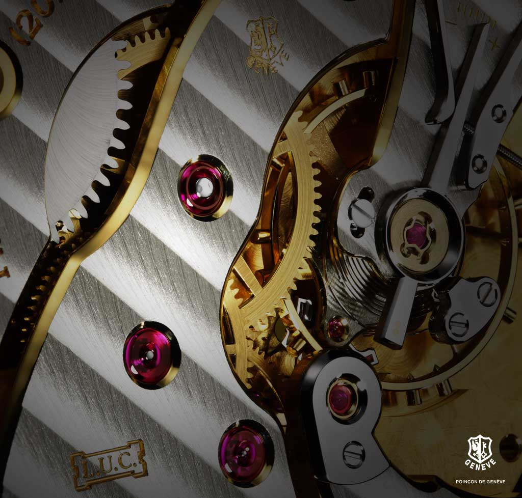 Movements must be provided on the train and escapement with jewel bearings having polished holes. On the bridge side, the jewels must be semi-brilliant with polished sinks.