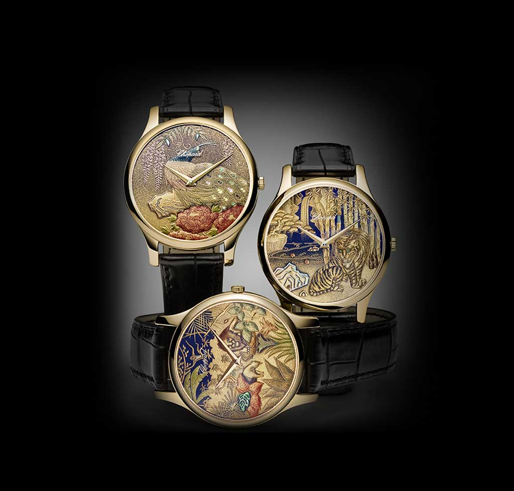 """Proclaimed a """"Living National Treasure"""" by the Japanese authorities, artist Kiichiro Masumura has created unique dials for Chopard based on the time-honoured lacquering techniques of Urushi and Maki-e."""