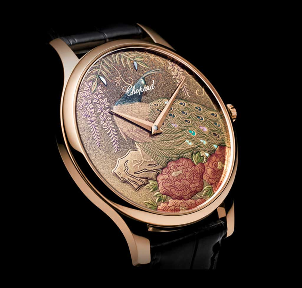 This unique dial for Chopard features a peacock motif and the time-honoured lacquering techniques of Urushi and Maki-e.