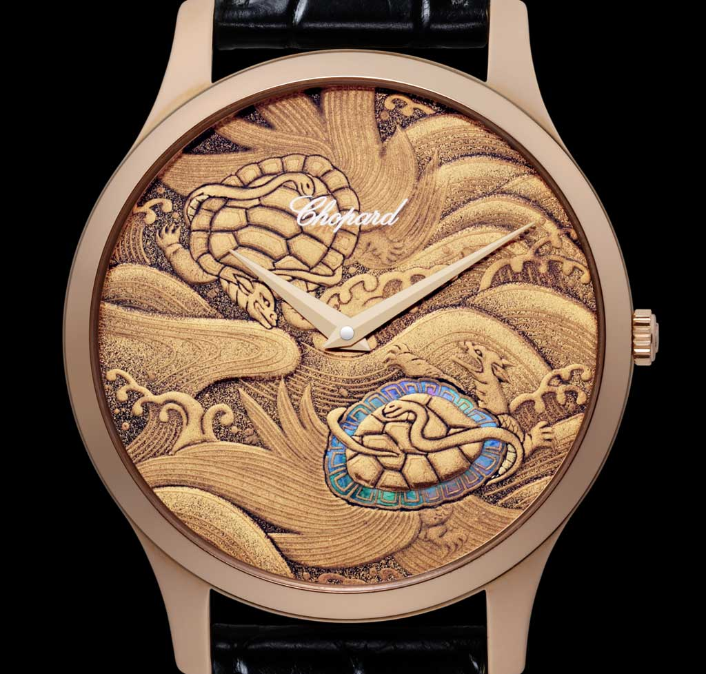 The Genbu, a cross between snake and tortoise, symbolises the element of water according to Chinese natural science.