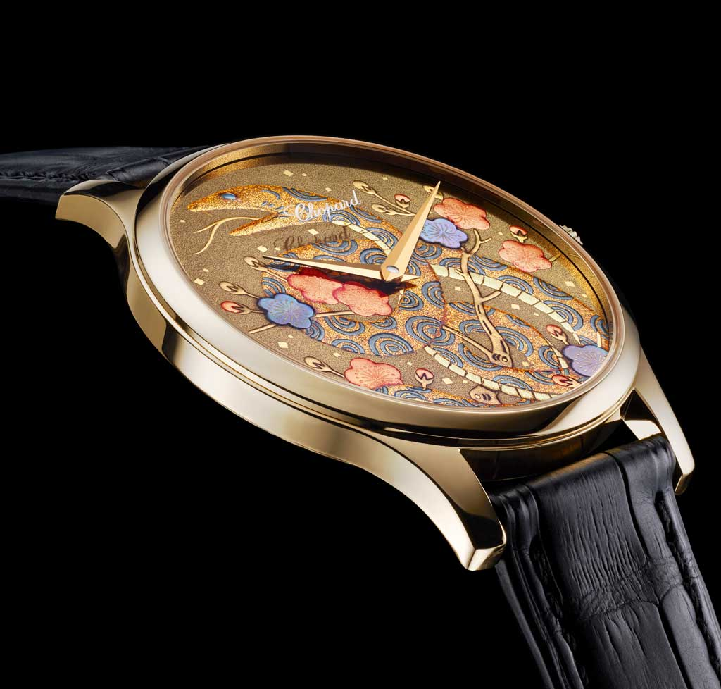 The Chinese astrological sign of the snake magnificently showcased on the dial of the ultra-thin L.U.C XP in 18-carat rose gold.