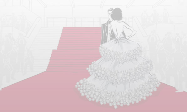 Sketch of a couple wearing formal wear (tuxedo and white dress) standing in front of stairs covered by a red carpet.