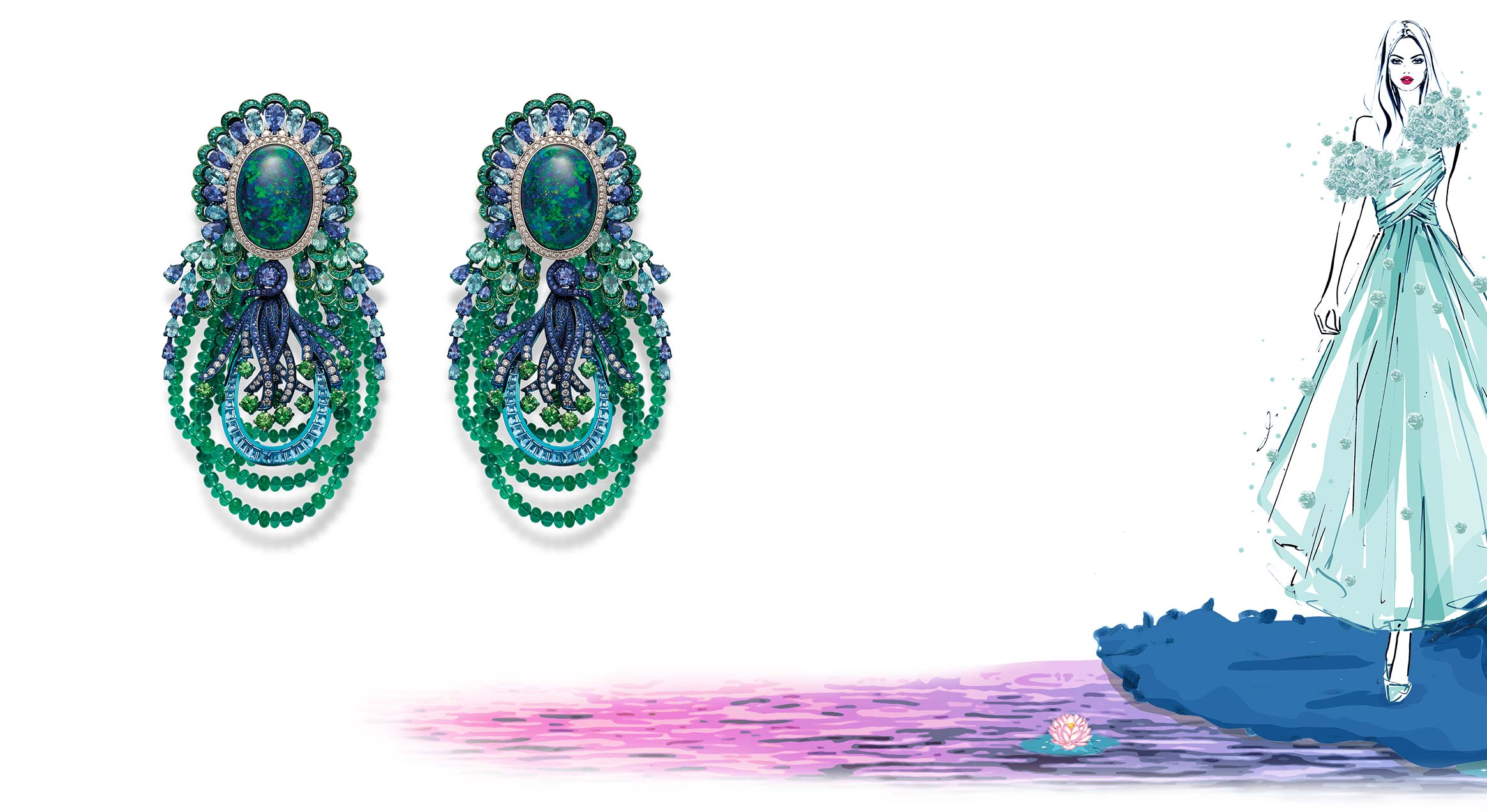 A stunning pair of earrings highlighted with opals and emerald beads.