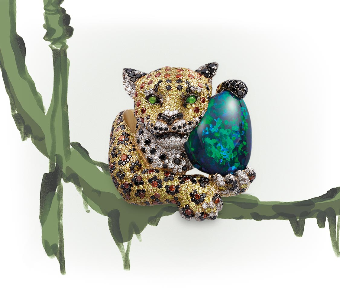 A stunning jaguar ring set with white and coloured diamonds, cradling a black opal.