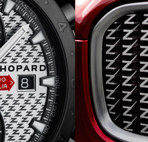 The letter ''Z'' for Zagato is outlined in a delicate technical grey profile on the dial, just like on Zagato radiator grills.