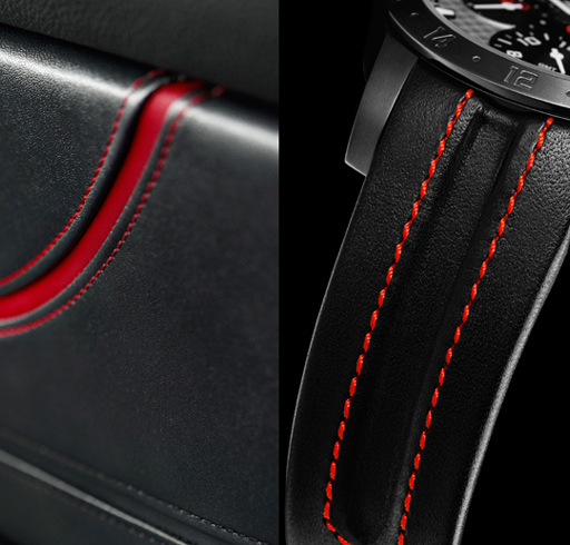 The strap of the Mille Miglia Zagato watch incorporates bright red topstitching and a hollowed-out central groove, recalling the typical features of Zagato upholstery.