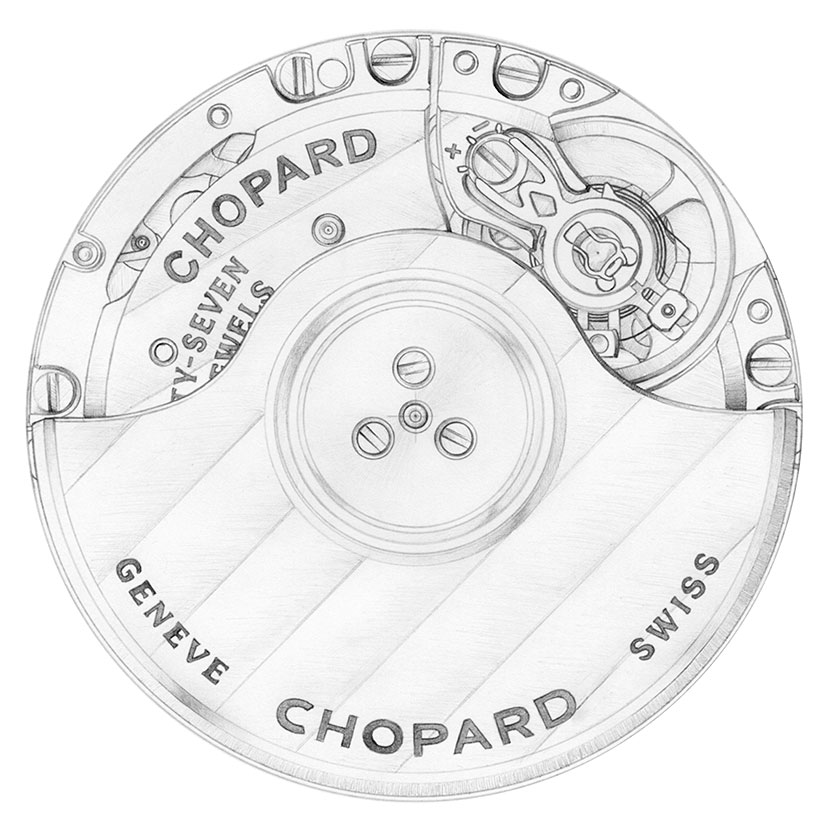 Sketch of Chopard's in-house movement equiped by the Alpine Eagle watches.