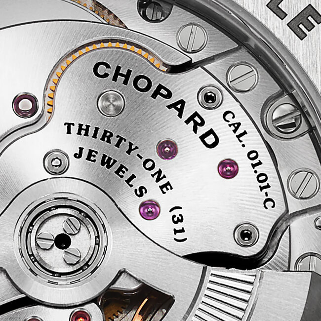 Close-up view of some components of Chopard's in-house movements.