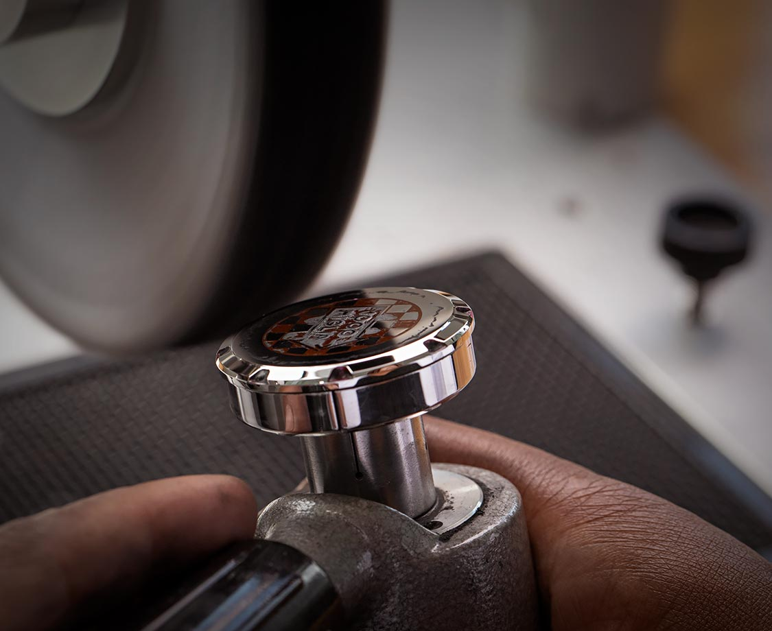 piece of watch being polished