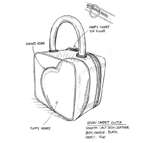 Black and white diagram showing how Chloë Sevigny and Caroline Scheufele designed this bag.