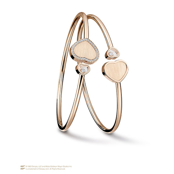 Happy Hearts Golden Hearts Bangle in rose gold and diamonds 1