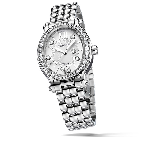 A silvery Happy Sport Oval watch, made of stainless steel and diamonds and with Chopard's iconic pebble strap.