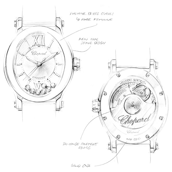 Drawn, black and white diagrams illustrating the thinking behind Chopard's famous Happy Sport Oval's shape.
