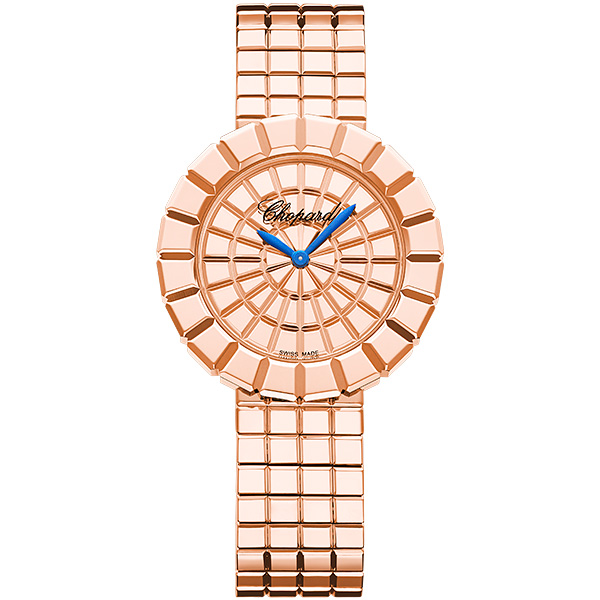 A pink gold Ice Cube watch with its two royal blue hands.